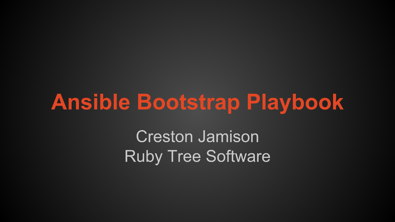 Ansible bootstrap playbook